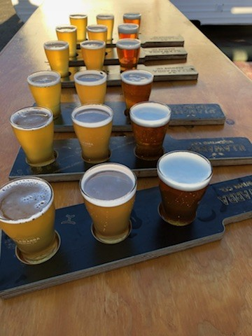 Craft Beer paddles lined up for drinking