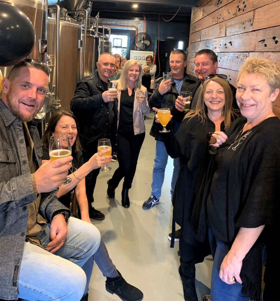Older men and women drinking craft beer at Stoic Brewing Co. Gerringong