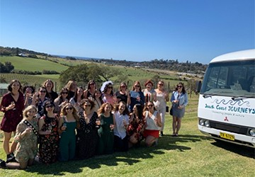 A BIG Hen's Party enjoying a South Coast Winery Tour at Crooked River Wines
